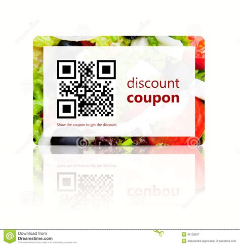 discount food food discount coupon with qr code isolated white stock illustration image 45129257