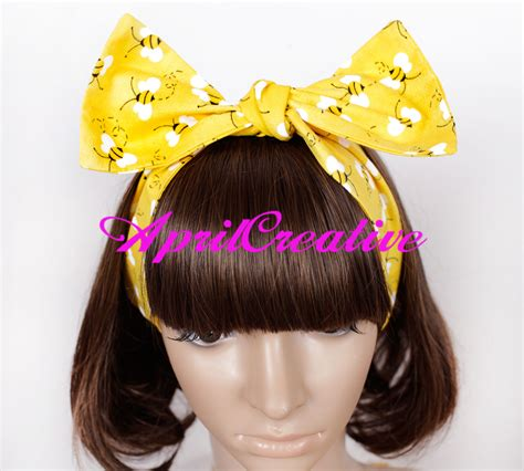 Bow Fabric Hair Band yellow dolly bow hair band with bees retro fabric