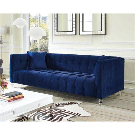 Navy Blue Velvet Tufted Bottom Sofa Navy Blue Tufted Sofa