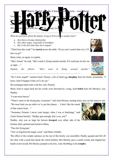 harry potter printable activity sheets harry potter and the chamber of secrets worksheet
