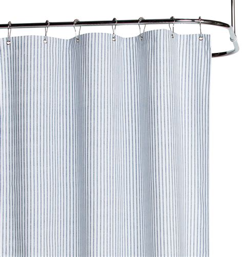 Blue Ticking Curtains Blue Ticking Cotton Duck Cloth Shower Curtain Rejuvenation