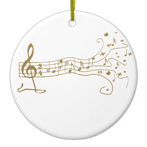 musical notes on pentagram happy gift - Notes Ornaments