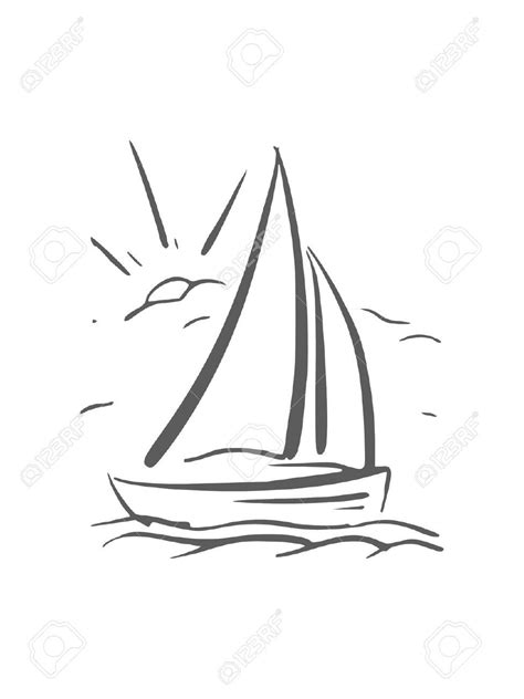 boat outline tattoo hand drawn background with sailboat vector eps8 royalty