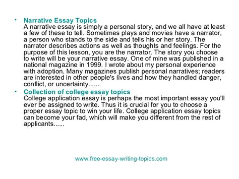 Topics To Write A Narrative Essay About by Free Narrative Essay Topics Docoments Ojazlink