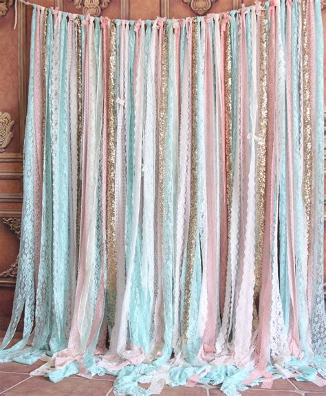 Sparkle Backdrop Curtains Mint Lace Fabric Pink Sparkle Sequin Photo Booth Photobooth Backdrop Wedding Ceremony Stage