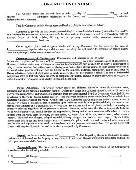 contract template construction company contract template sle