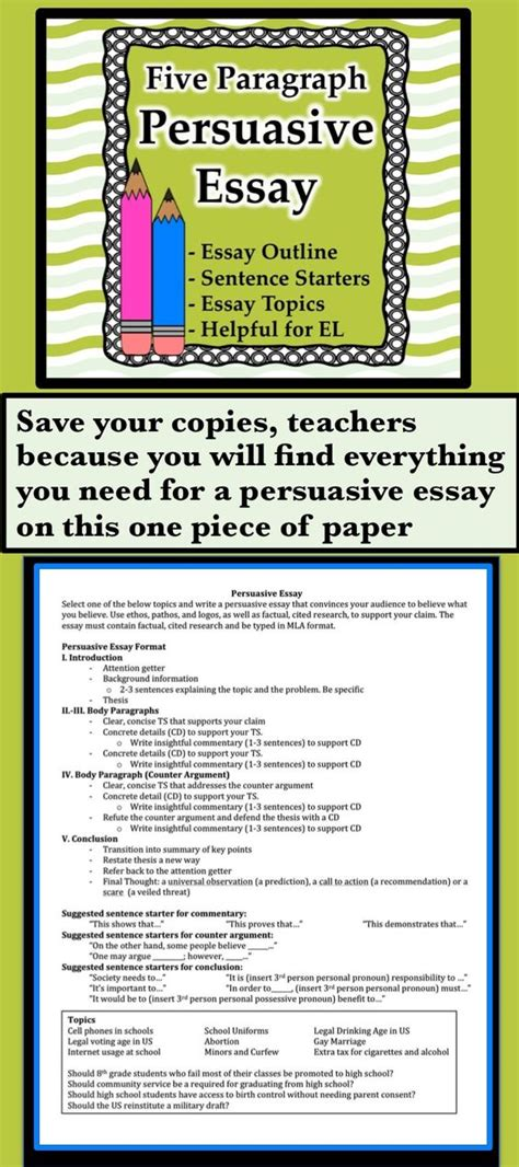 Topic Sentences For Persuasive Essays by Persuasive Essay With Included El Support Persuasive Essays Paper And Topic Sentences