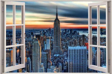 New York Wall Mural Uk huge 3d window view new york city wall sticker film mural