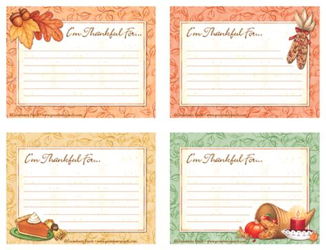 Free Thanksgiving Recipe Card Template by Free Thanksgiving Gratitude Cards Gooseberry Patch