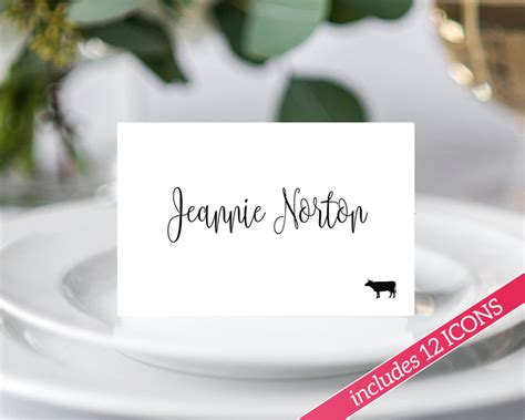 choice card template place card templates with meal icons 183 wedding templates