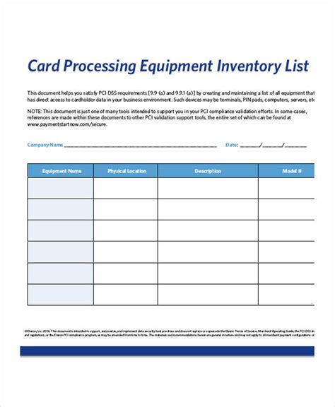 Equipment Inventory List Templates 9 Free Word Pdf Format Download Free Premium Templates Equipment List Template