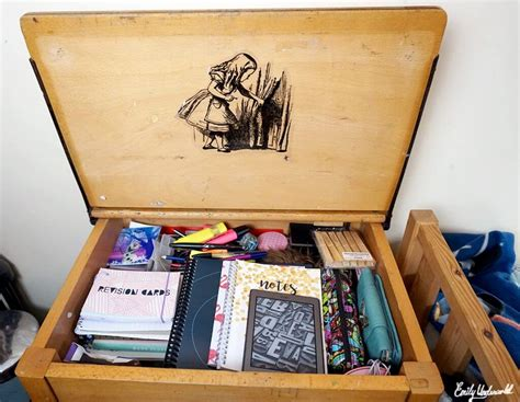 inside my vintage school desk emily underworld
