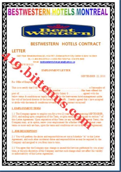 Contract Letter For Hotel Bestwesternhotel Canada Perhaps Am Trying To You Right