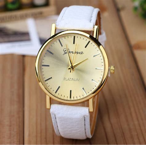 Geneva Platinum Gold Jam Tangan Fashion new golden geneva platinum fashion pu leather casual dress wristwatch