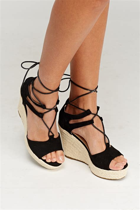 Best Seller Sepatu Wanita Wedges Boots Platform lace up espadrilles wedge sandals just 163 5