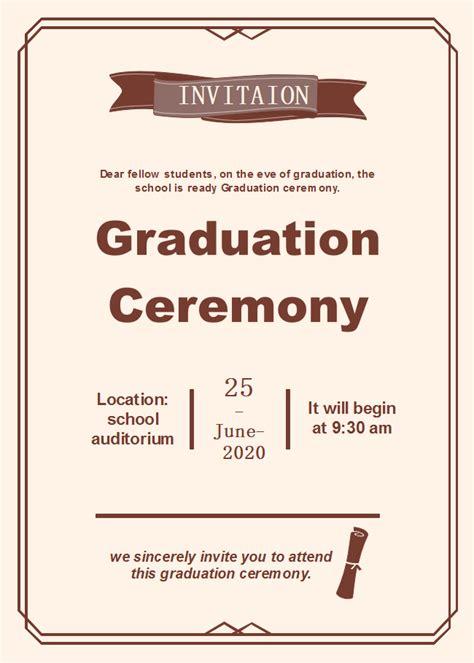 Graduation Ceremony Invitation Card Template by Graduation Ceremony Invitation Free Graduation Ceremony
