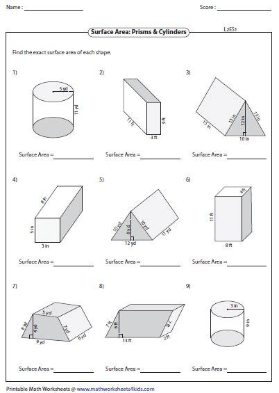printable area quiz printable surface area quiz triangular prism surface area
