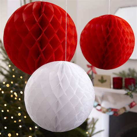 three christmas honeycomb balls hanging decorations by