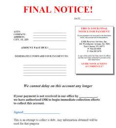 Credit Collection Letter 10 Best Images Of Notice Template Notice Collection Letter Sle Notice