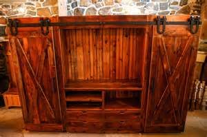 Monarch Specialties Console Table Family Room Entertainment Cabinet With Barn Doors Rustic