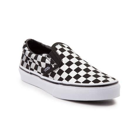 youth vans slip on metallic chex skate shoe black 1498119