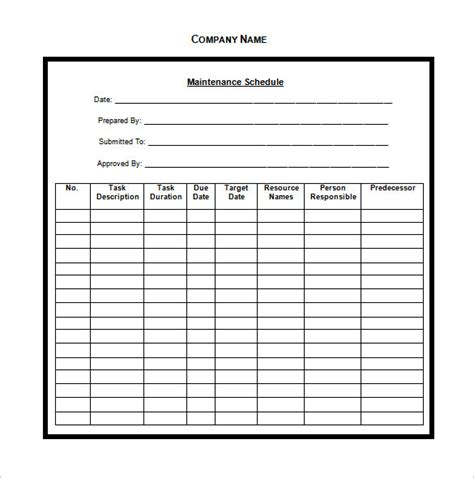 vehicle maintenance schedule templates 9 free word