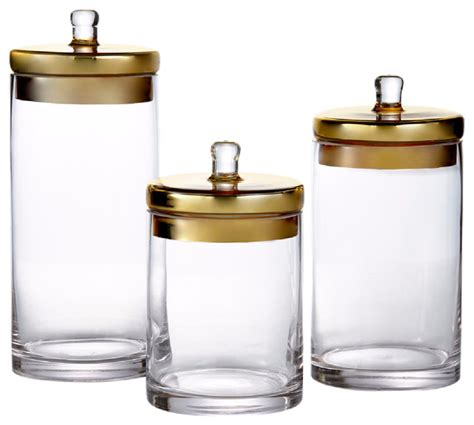 glass canisters set of 3 with golden lids contemporary