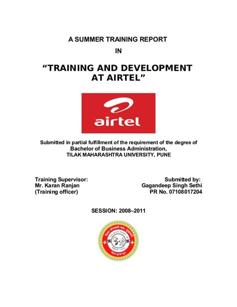 Airtel Project Report Mba by 45087468 Airtel Project Report