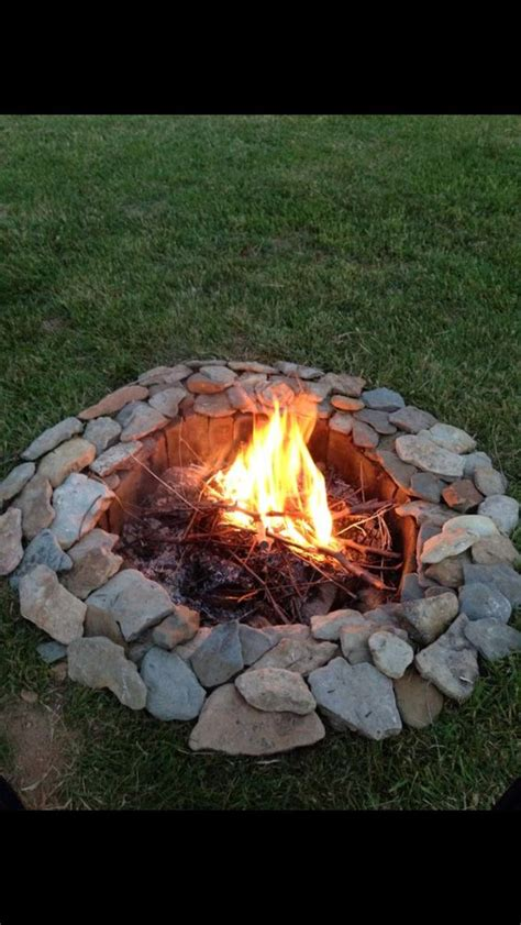 Firepit Rocks Creek Rocks And Bricks Make A Great Pit Gardening Pits Rock And And