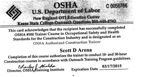 osha 10 hour card template osha 10 certification images
