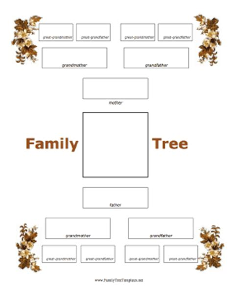 one sided family tree template 4 generation family tree with fall foliage template