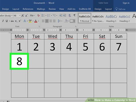 how to make a calendar on word how to make a calendar in word with pictures wikihow