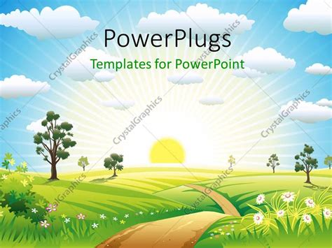 template powerpoint landscape powerpoint template vector illustration of sunny meadow