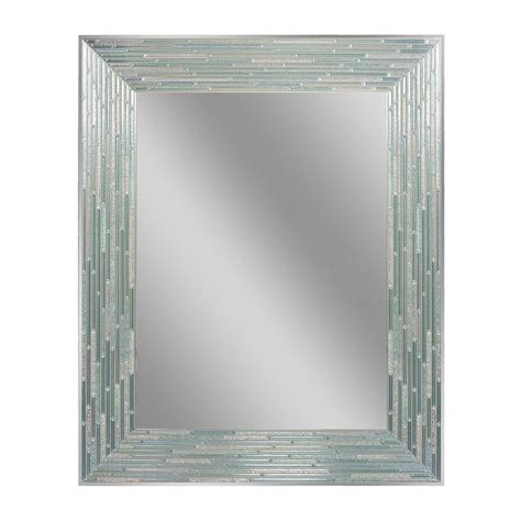Glass Wall L Deco Mirror 30 In L X 24 In W Reeded Sea Glass Wall
