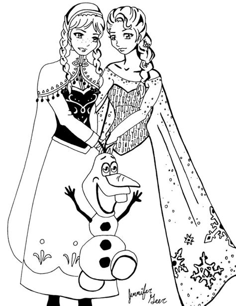 Elsa anna and olif colouring pages
