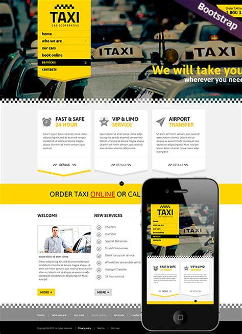 Taxi Service Html Website Template Best Website Templates Taxi Website Template
