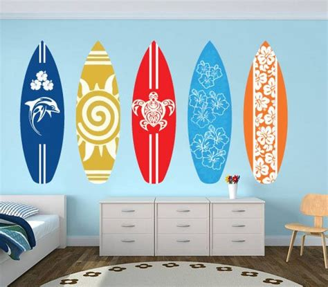 surfboard wall stickers surfboards wall decal pack for housewares