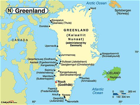 greenland map with cities greenland capital map
