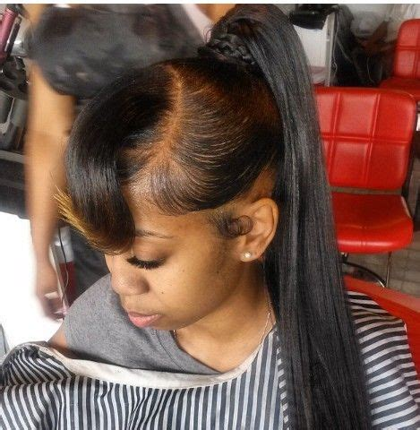 black people short hair style sleek in front curly back quick weave long ponytail hairstyles pinterest i