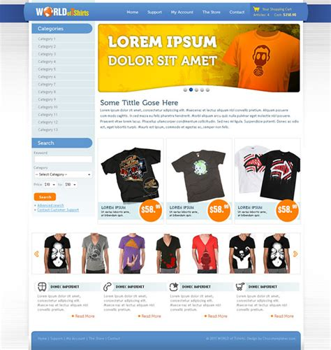 World Of T Shirts Free Ecommerce Website Css Template For T Shirts Website Css Templates Ecommerce T Shirt Website Templates