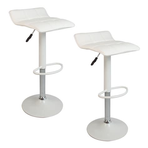 Hydraulic Bar Stools White Set Of 2 Bar Stools Leather Hydraulic Swivel