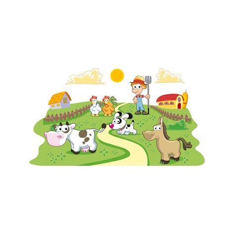 imagenes infantiles granja vinilo infantil de pared de una granja y el granjero