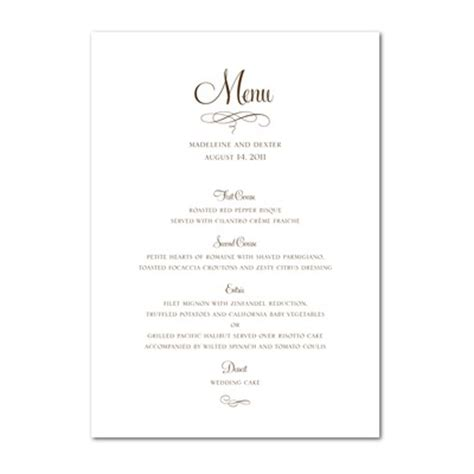 sle menu cards templates free printable wedding menu card templates 28 images