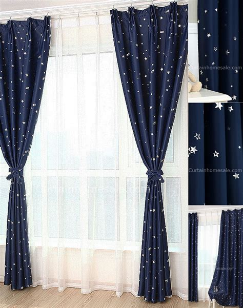 curtains with stars on them affordable dark blue star blackout fiber antique chic curtains