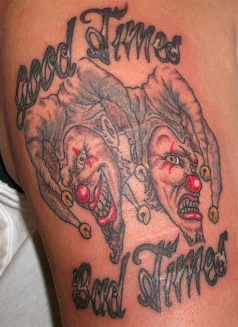 good bad tattoo designs times bad times jester on bicep