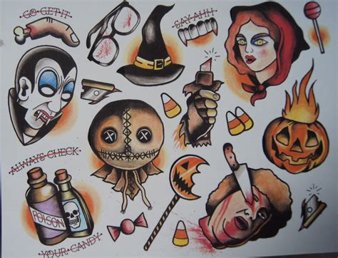 trick r treat tattoo flash print tat ideas pinterest