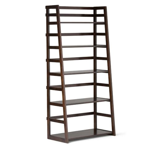 Shelf Ladder Bookcase Ladder Shelf Bookcase In Tobacco Brown Axss008kd