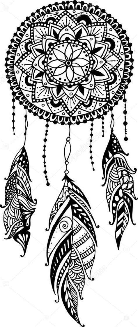 hand drawn mandala dreamcatcher with feathers ethnic