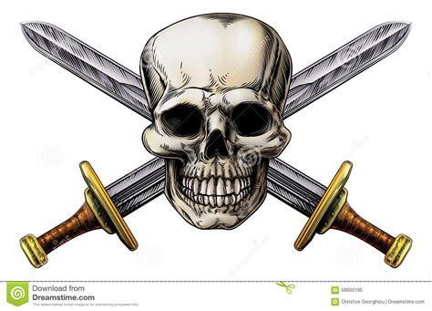 cross swords and skull stock vector image of print black