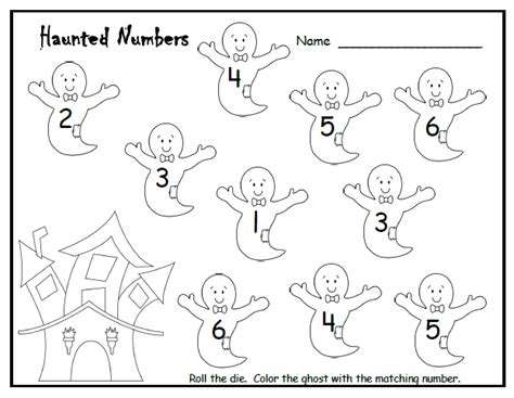 halloween counting pre k activity roll the dice and color